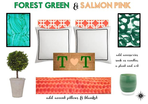 Forest Green & Salmon Pink Bedroom via Torie and Tristan