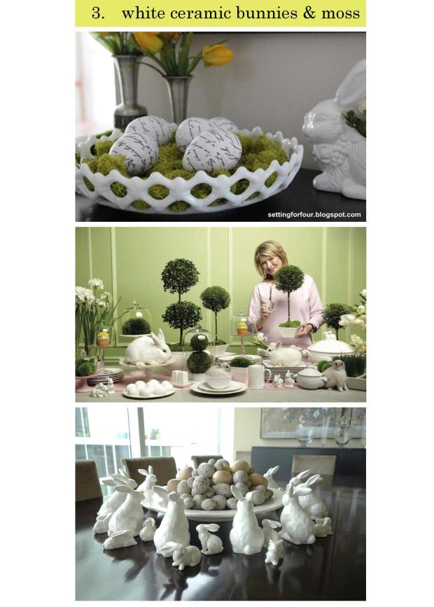 Torie and Tristan - 4 Spring Decor Trends - TREND 3 - White Ceramic Bunnies and Moss