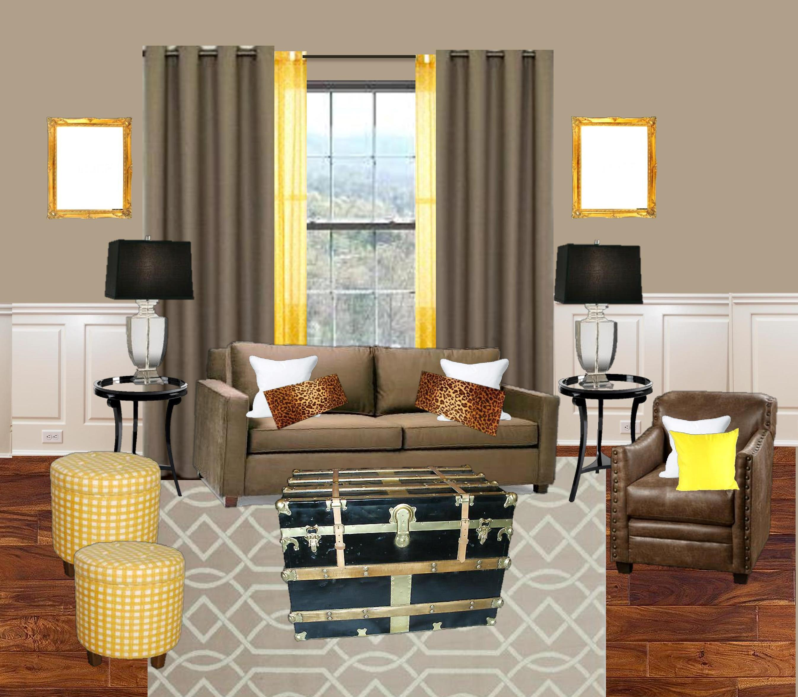Yellow mocha black living room torie tristan - Black and yellow living room ...