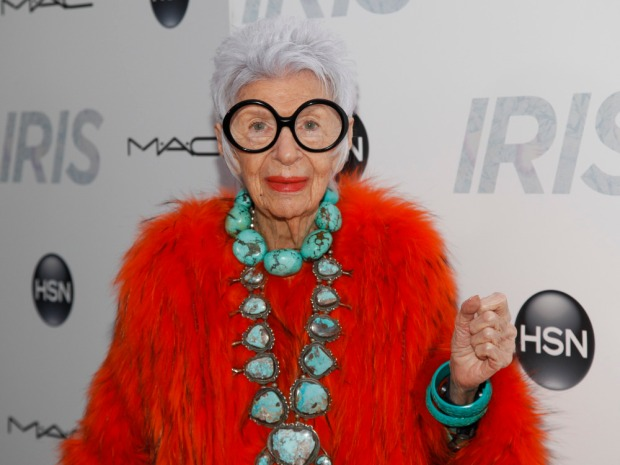 "Iris Apfel attends the premiere of ""Iris"" at the Paris Theatre on Wednesday, April 22, 2015, in New York. (Photo by Andy Kropa/Invision/AP) ORG XMIT: NYAK101"