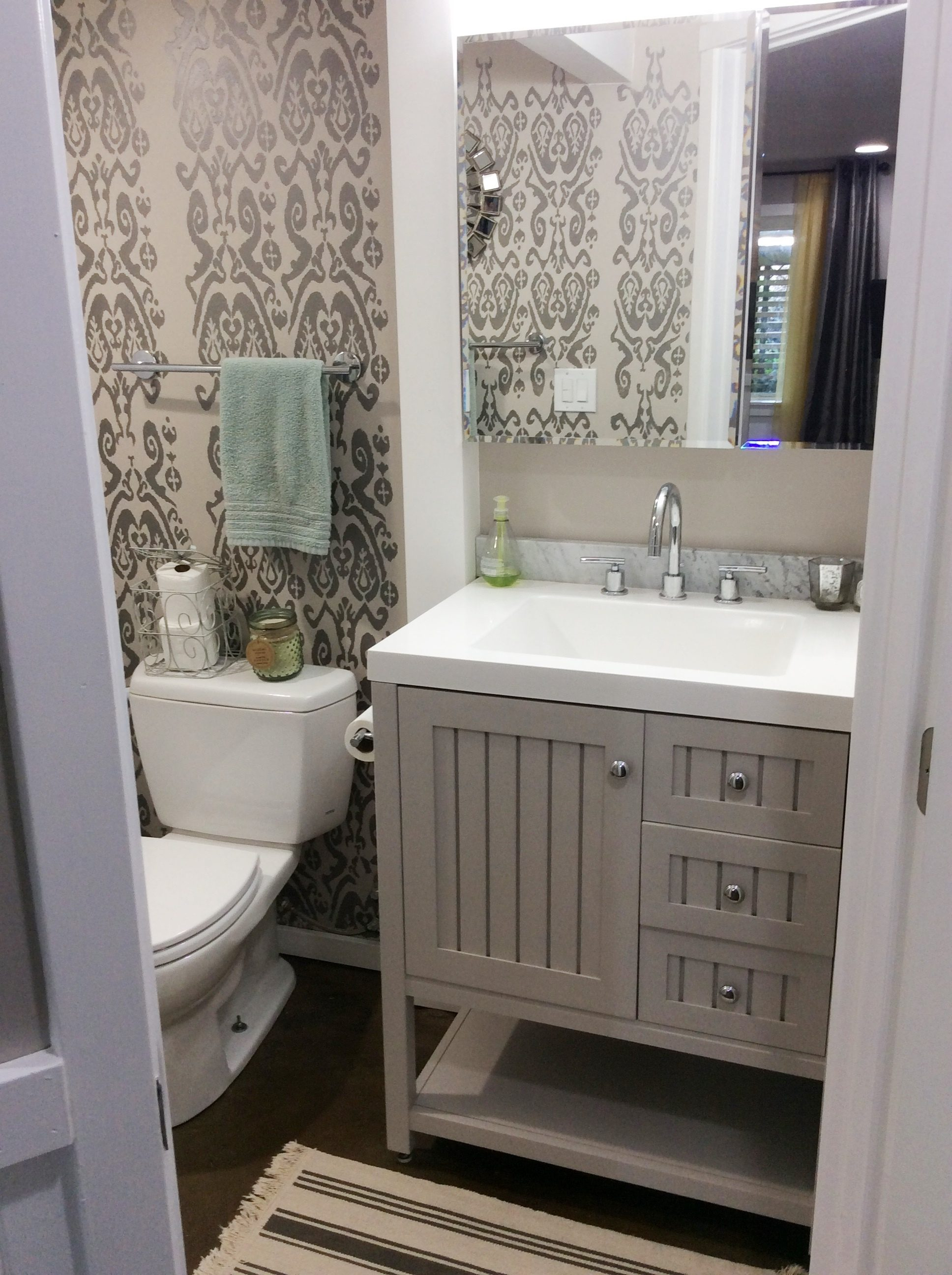 This Vanity Is By Martha Stewart At Home Depot And The Color Is Sharkey  Gray. We Liked It So Much We Painted The Entire Basement Sharkey Gray!