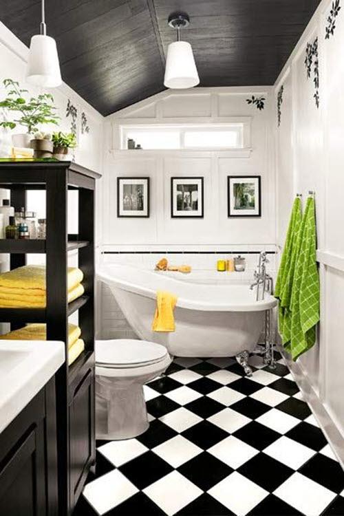 yellow black white bathroom | TORIE & TRISTAN